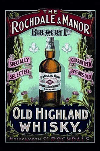 Rochdale & Manor Highland Whisky metalen bord bord gebogen metalen plaat metaal Tin Sign 20 x 30 cm