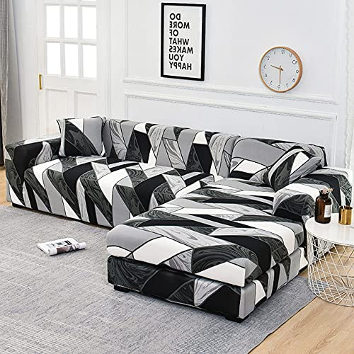 Ecksofabezug Elastische Sofabezüge für Wohnzimmer Sesselbezüge Fundas Sofas mit Chaiselongue Bedarf Bestellen Sie 2 Stück Etui, Farbe 6,4 Sitzer 235.300 cm