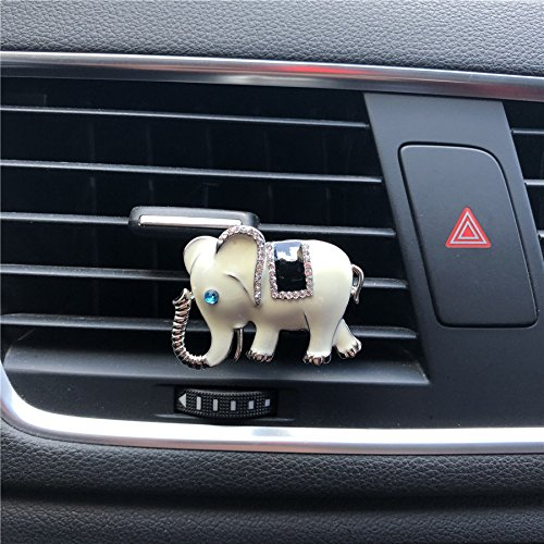 FOLCONROAD Auto Diamond Elephant Car Air Conditioning Outlet Clip Decorative (White)[US Warehouse] Christmas Gifts