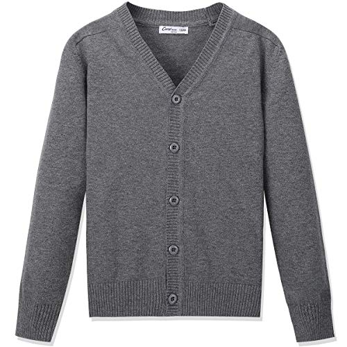 CUNYI Boys' Button-up Cardigan with Elbow Patches V-Neck Cotton Knit Sweater Casual Outerwear, Dark Grey, 150