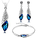 Valentine Gifts for Girlfriend/Wife : YouBella Jewellery Combo of Crystal Stylish Necklace Jewellery Set with Earrings and Bracelet for Girls and Women (Pendant, Earrings & Bracelet)