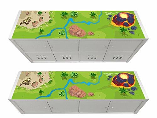 Stikkipix Dinosaurier Möbelfolie | KSWL19 | passend für das Regal KALLAX von IKEA - (Möbel Nicht inklusive)