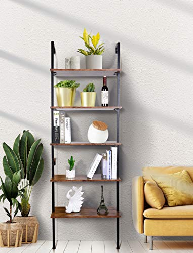 amzdeal Industrial Ladder Shelf, 5-Tier Bookshelf, Plant Stand,Rack Storage Shelves,Display Shelf,Stable Metal Frame,for Bathroom, Kitchen, Living Room,Balcony,Bedroom,Office