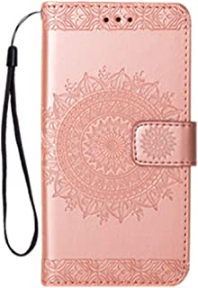 Galaxy S5 Case, Folice Mandala Flower Pattern [Shock Absorbent] PU Leather Kickstand Wallet Cover Durable Flip Case for Samsung Galaxy S5 (Rose Gold)