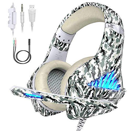 VersionTECH. Gaming Headset PS4 Kopfhörer 3,5 mm PC LED Beleuchtung Bass Kopfhörer Stereo Over-Ear-Headset mit Mikrofon für Xbox One, Laptops, Mac, Tablet und Smartphone Weiß Camouflage