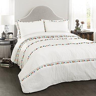 Lush Decor Boho Tassel 3 Piece Comforter Set, King, White