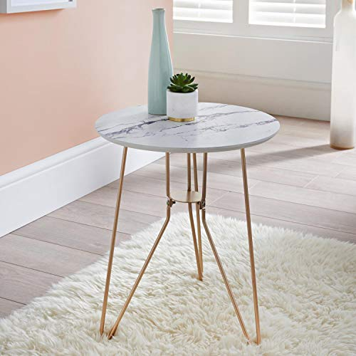 AJ Patina End Side Marble Effect Table With Gold Finish Metal Legs, and a Marble Effect Drinks Food Coffee Tea Table