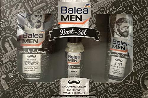 Balea MEN Bart-Set: Grooming Cream75ml, Bartserum 50ml, Wasch-Schaum 150ml, Vegan, Geschenkset