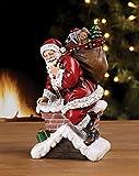 Napco Imports Santa Claus Climbing Down Chimney with Presents Resin Stoneware Christmas Decoration Figurine