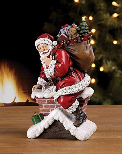 Napco Imports Santa Claus Climbing Down Chimney with Presents Resin Stoneware Christmas Decoration Figurine
