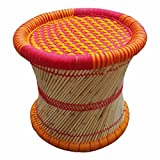 Product Dimensions: Length (16 inches), Width (14 inches), Height (16 inches); Material: Bamboo, Wood Weight: 300 Gm; Warrenty: 2 Years; Color/Design May Vary A Little Package Content: 1 Stool/Muddha; Color: Multi HandMade Eco Friendly Material. Ethn...