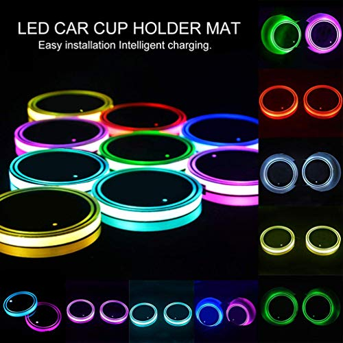 Led Cup Holder Lights, 2 Pieces Car Cup Holder led Lights with 7 Colors USB Charging Mat Cup Pad Coaster Insert LED Interior Atmosphere Lamps