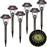 Solar Pathway Lights Outdoor, 6 Pack Metal Glass Solar Garden Lights LED Stainless Steel Bronze Decorative Landscape Lighting for Walkway, Driveway, Patio, Lawn, Yard