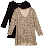 Amazon Essentials Paquete de 2 Camisetas de Manga 3/4 con Cuello en V Fashion-t-Shirts, Mini Leopardo/Negro, US M (EU M - L)