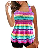 Womens Halter Swimdress Two Piece Tankini Swimsuits for Women Push Up Plus Size Bathing Suit with Boyshort (Pink, M)