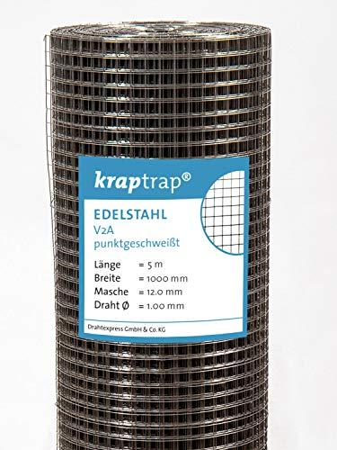 Edelstahl V2A Volierendraht Drahtgitter Drahtzaun (Edelstahl 12mm x 12mm, 1m x 5m)