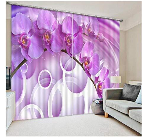 WKJHDFGB Vorhang Blickdicht,3D-Vorhänge Thermische Schattierung Blumen Hochwertige Kunst Weiße Vorhänge 3D Moderner Vorhang Für Wohnzimmerfenster 215X260Cm
