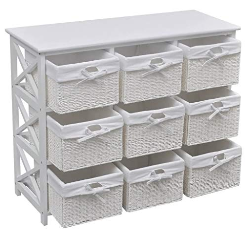 WENXIA Lockers, drawers Wide Storage Unit with Wicker Baskets Chest of 9 Drawers Cabinet for Home Bedroom 94 x 37 x 76 cm White