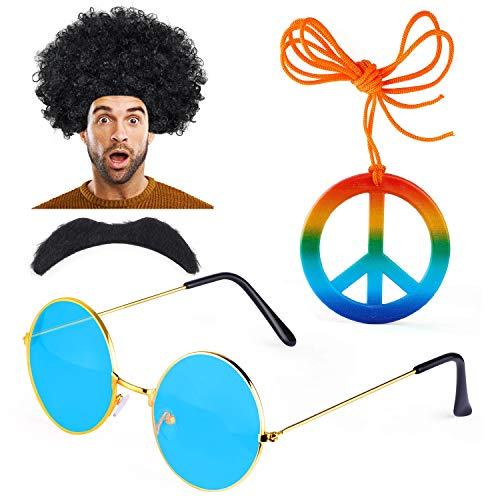 Haichen Hippie Costume Uomo Anni '70 Anni '60 Parrucca Afro Occhiali da Sole Hippy Baffi Segno di Pace Collana Vestito Operato Accessorio (A)