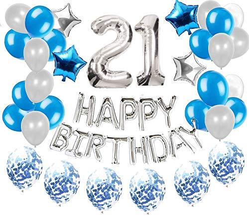JeVenis 36 PCS Silberblau 21. Geburtstagsdekorationen Partyangebot 21 Geburtstagsballons Alles Gute zum Geburtstag Ballon Banner 21 Geburtstagsdekorationen