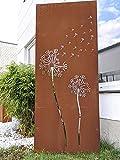 Zen Man Edelrost Garten Sichtschutz aus Cortenstahl 1.2mm Rost Gartendeko Rost Sichtschutzwand (032096-4C:B75 H180cm)