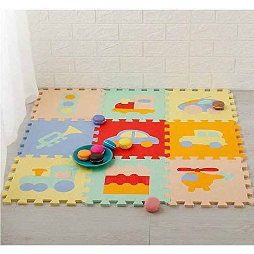 NZDY 9Pcs Niños Puzzle Mat Cuadrados Play Tiles Mats Girl Playmat Alfombra Enclavamiento de Espuma Almohadilla de Espuma Bebé Jigsaws Puzzle Tablero Portátil Plegable Eco-Friendly Multicolour Eva Esp