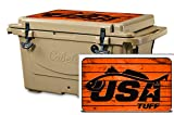 USATuff Wrap (Cooler Not Included) - Lid Kit Fits Cabelas Polar Cap 25qt - Protective Custom Vinyl Decal Redfish Orange Wood