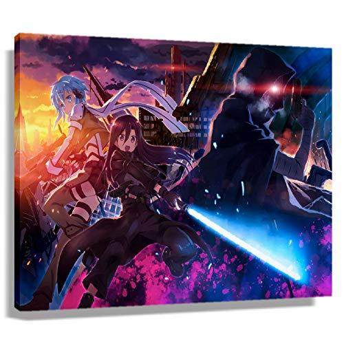 Magical Sword Art Online SAO Póster de pared de anime moderno cuadro de pintura en lienzo para decoración de astracto Artwrok, decoración de sala de estar para regalos (sin marco, 30 x 45 cm)