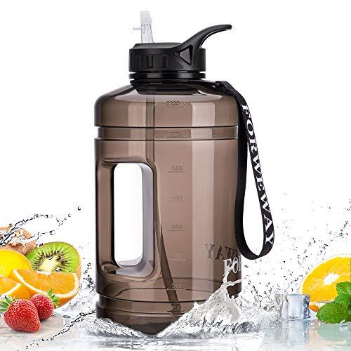 FORWEWAY Borraccia 2.2 Litri con Cannuccia Bottiglia Acqua da 2.2L Palestra Borraccia in Plastica Portatili per Sport Nero Trasparente