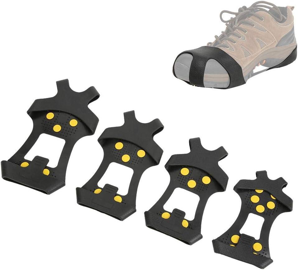 S 1 par 10 Dientes Antideslizante Resistente al Hielo Cubierta Antideslizante para Zapatos TPE ABS Aleaci/ón de Zinc Cubierta Antideslizante para Nieve Puntas MAGT Puntas Antideslizantes SHO 30-35