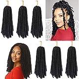 Jinhui Spring Twist Hair 6 Packs 10 Inch Bomb Spring Twist Crochet Braiding Hair Fluffy Twist Crochet Braids Synthetic Passion Twist Crochet Hair for Butterfly Locs (1B)