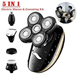 Elektrorasierer,5 in1 wasserdichtes Elektrischer Rasierer USB 5D Rasierapparat Trimmer-Pflegeset für Männer mit 5 Schwimmköpfen, Nasenhaarschneider,Gesichtsrasierer,Nass &Trockenrasierer