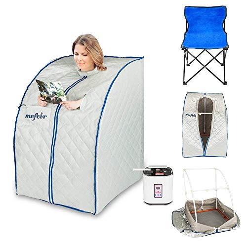 Mefeir Portable Sauna Home SPA, Full Body Slimming Loss Weight, Healthy Detox Therapy One Person, w/Enlarged Folding Chair (Steam)