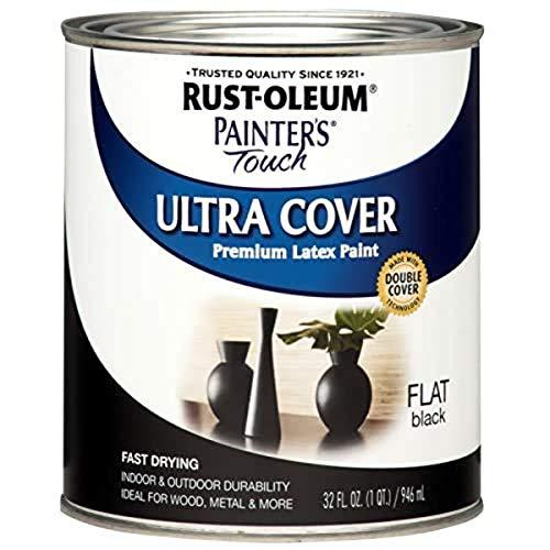 Rust-Oleum 1976502 Painter's Touch Latex Paint, Quart, Flat Black
