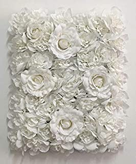 Blush Blooms Premium Decorative Flower Panels Handmade with Artificial Silk Flowers | Wall Decor, Flower Walls, Backdrops, Weddings, Bridal Showers, Baby Showers, and Event Decor (White)