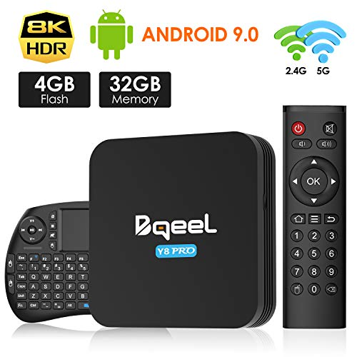 Android TV Box - Bqeel Android 9.0 TV Box 【4GB+32GB】 con mini teclado Amlogic S905X3 64-bit quad core ARM® Cortex™ A55 CPU con Dual-WiFi 2.4GHz/5GHz,LAN 100M,BT 4.0, 8K*4K UHD H.265, USB 3.0 Smart TV Box