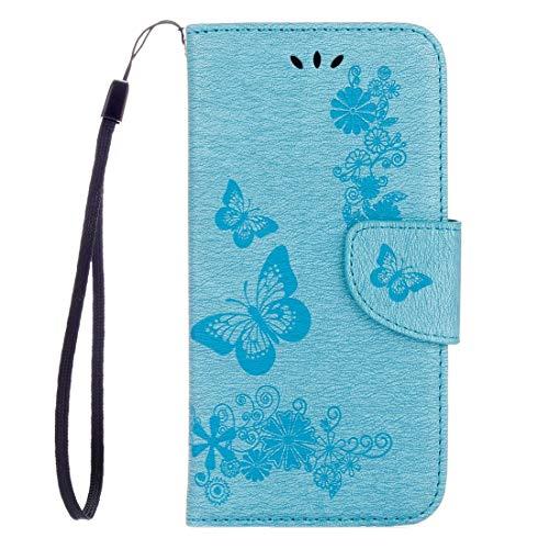ZAORUN Teléfonos Móviles Fundas Protectoras Huawei P8 Lite (2017) Mariposas en Relieve Horizontal Flip Funda de Cuero con Soporte y Ranuras Compatible for Tarjetas y Billetera y cordón