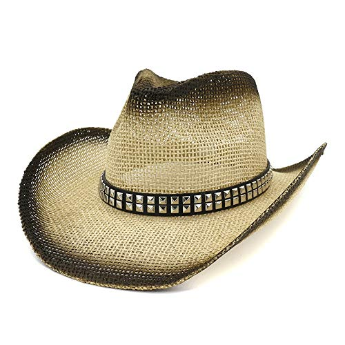 Jiangqiong, – Cappello da Cowboy in Paglia da Donna e Uomo Stile Western Cappello da Spiaggia Spiaggia Spiaggia Spiaggia all'aperto Vacanza Sole Visiera Rivetto Quadrato, Cannuccia, 1, 56-58 cm