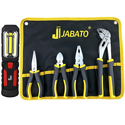 Juego de alicates, set de 4 alicates con funda de lona enrollable + linterna de trabajo LED-COB. Alicates de acero al carbono para trabajos...