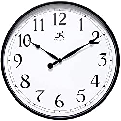 Infinity Instruments Officium 18 inch Plain Office Wall Clock Business Easy to Read Battery Operated (Black)