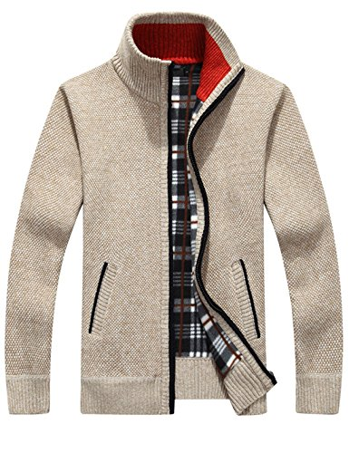 Yeokou Men's Casual Slim Full Zip Thick Knitted Cardigan Sweaters with Pockets (X-Large, Khaki001)