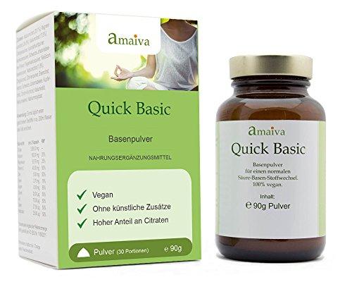 Basenpulver Quick Basic - mit Zink, Citraten und Fruchtpulvern (vegan, freiverkäuflich, hergestellt in Deutschland nach ISO 9001, PZN: 11482634)