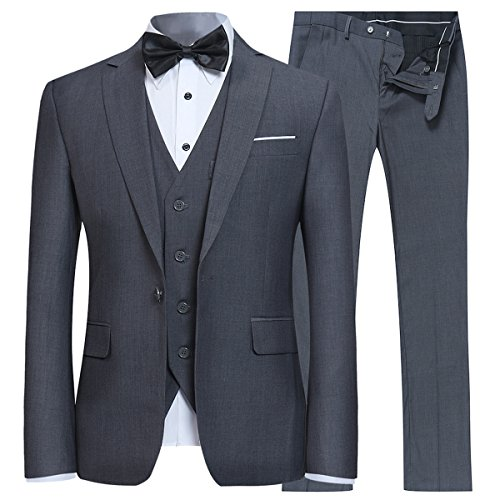 YFFUSHI Men's Slim Fit 3 Piece Suit One Button Blazer Tux...