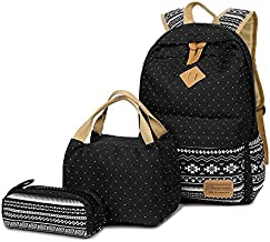 Teen Girls Canvas School Backpack, 3 Pcs Set, Casual Daypack/Lunch Box/Pencil Case
