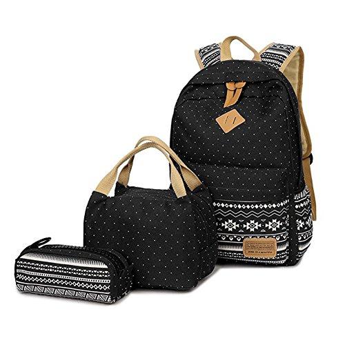 Schulrucksäcke Mädchen, Supstar Laptop Rucksack Campus Schultaschen+ Lunch Taschen + Federmäppchen für Damen (Schwarz)