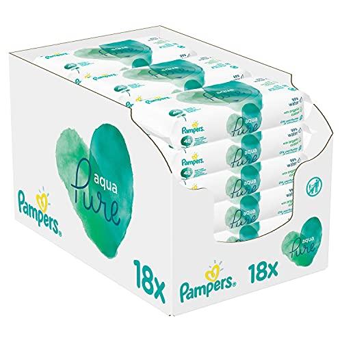 Pampers Aqua Pure Baby Feuchttücher, 864 Tücher (18 x 48) Mit 99% Purem Wasser, Dermatologisch Getestet, Baby Erstausstattung Für Neugeborene