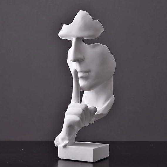 13,4x5x4,4 in Ladieshow Statua del Viso Silenzio /è doro,Scultura del Viso Statua in Resina Arte Astratta Moderna Figurine Statua Scultura Statue per lhome Office Bar Cafe Decor Silver