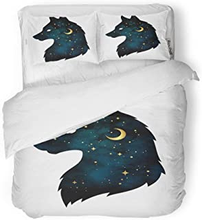 rouihot Duvet Cover Set King Size Silhouette of Wolf Crescent Moon and Stars Tattoo Pagan 3 Piece Microfiber Fabric Decor Bedding Sets for Bedroom