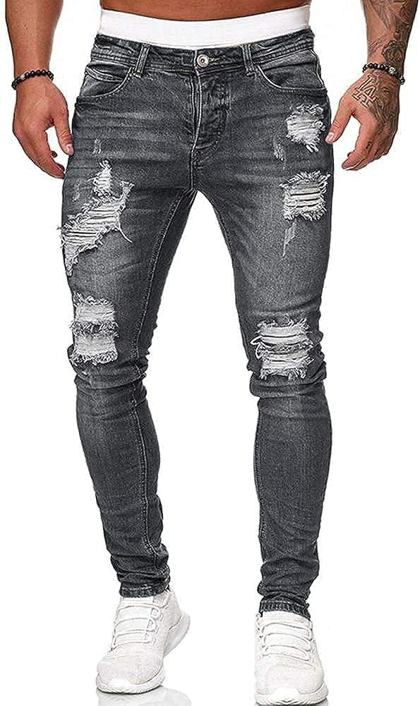 Koodred Men's Ripped Tapered Leg Pants Distressed Destroyed Skinny Slim Fit Stretch Denim Pants Jeans