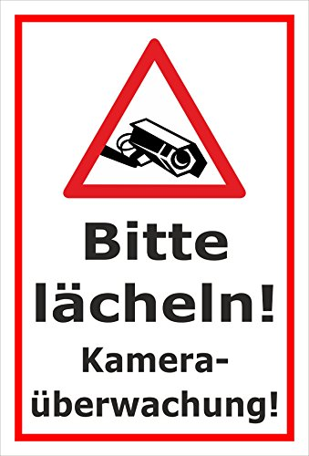 Melis folieverksstatt skylt – kameraövervakning – 30 x 20 cm | Borrhål | 3 mm hårt skum – S00349-004-B 20 VAR